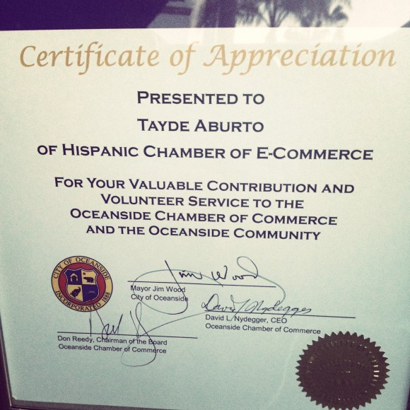 Certificate of Appreciation | City of Oceanside | Oceanside Chamber of Commerce